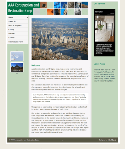 Website developed for AAA Construction Company